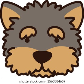 Yorkshire puppy front face outlined