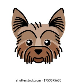 Yorkshire terrier cute icon. Graphic illustration in vector for t-shirt emblem, tattoo, logo.