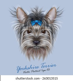 Yorkshire terrier Dog animal cute face. Vector adorable happy Yorkshire girl puppy head portrait with bow accessory. Realistic funny fur portrait of Yorkshire dog isolated on blue background.
