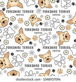 Yorkshire Terrier : Dog breed collection : Seamless Pattern : Vector Illustration