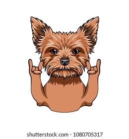 Yorkshire terrier dog. Horns gesture. Rock gesture. Dog breed. Vector illustration