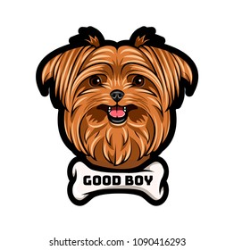 Yorkshire terrier dog portrait. Bone. Good boy inscription. Yorkshire terrier breed. Vector illustration.