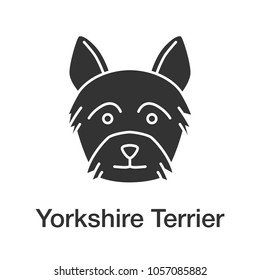 Yorkshire Terrier glyph icon. Yorkie. Silhouette symbol. Negative space. Vector isolated illustration