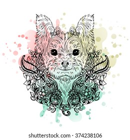 Yorkshire Terrier graphic dog, abstract vector illustration. It may be used for design of a t-shirt, bag, postcard, a poster, phone case and so on.