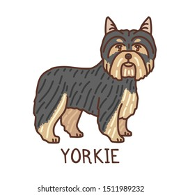 Yorkshire Terrier. Isolated Dog in Doodle Style for Fliers Ads Banners Posters. Vector Illustration