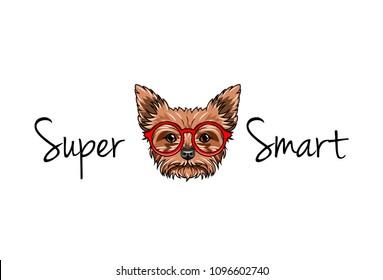 Yorkshire terrier nerd. Smart glasses. Super smart inscription. Pet geek. Dog portrait. Vector illustration.