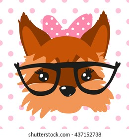 Yorkshire Terrier Pretty Girl Vector Illustration can be used as kid print for t-shirt, card, sticker etc Isolated from background