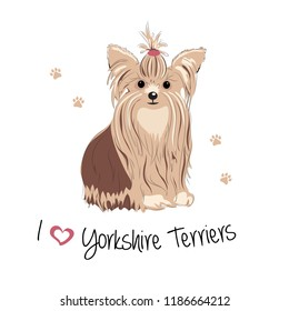 The Yorkshire Terrier sits and looks ahead. I love Yorkies. Colored Vector illustration.