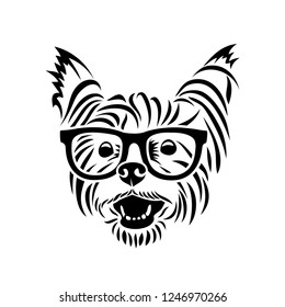 Yorkshire terrier wearing eyeglasses - Yorkie - isolated vector illustration