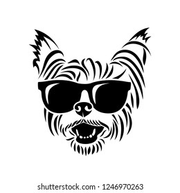 Yorkshire terrier wearing sunglasses - Yorkie - isolated vector illustration