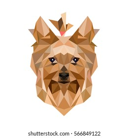 Yorkshire Terrie.Yorkshire vector polygon geometric. Dog  low poly illustration.