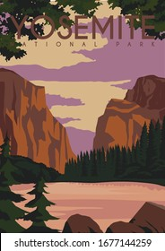 Yosemite Vector Illustration Background. Travel to Yosemite National Park Central California United State of America. Flat Cartoon Vector Illustration in Colored Style.