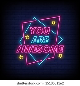 You are awesome neon signs style text vector