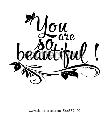 You Beautiful Isolated Black Calligraphic Lettering Stock Vector