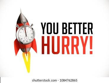 You better hurry - stopwatch with launch rocket concept - deadline symbol