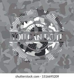 You can do it grey camouflaged emblem. Vector Illustration.