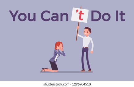 You can not do it poster. Man correcting positive grammatical construction into negative statement to suppress enthusiasm, confidence, male boss in disbelief mistrust to woman. Vector illustration