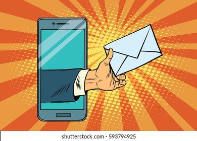You email or a message in smartphone. Pop art retro vector illustration