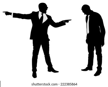 You are fired! Angry businessman shouting at his employee