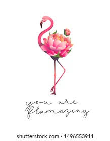 You are flamazing inspirational cute card vector illustration. Motivational quote with lettering means compliment pink floral flamingo