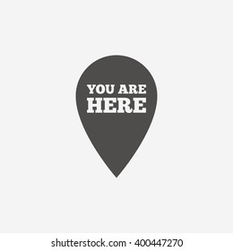 You are here icon. Info speech bubble. Map pointer with your location. Vector