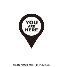 you are here icon. Map pointer icons. Marker location icon with you are here