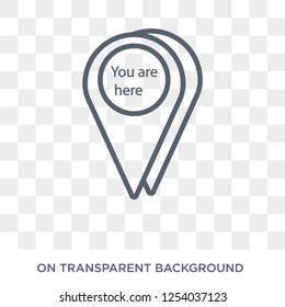 You are here icon. Trendy flat vector You are here icon on transparent background from Maps and Locations collection. High quality filled You are here symbol use for web and mobile