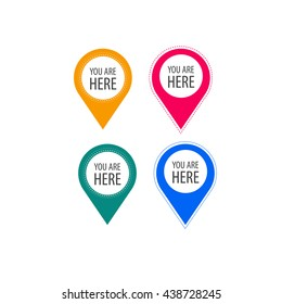 You are here icons. Info speech bubble symbol. Map pointer with your location sign. Hand cursor. Flat icon pointers.
