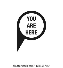 You are here. map pointer icon. GPS location symbol. Flat design style.