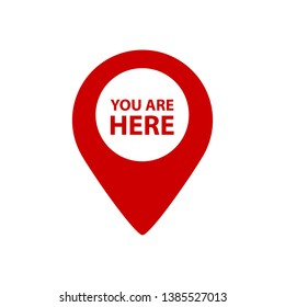 You Are Here Map Pointer - Vector Illustration - Isolated On White Background