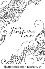 You inspire me quote on zentangle inspired motivational postcard design with oriental tribal ornaments.