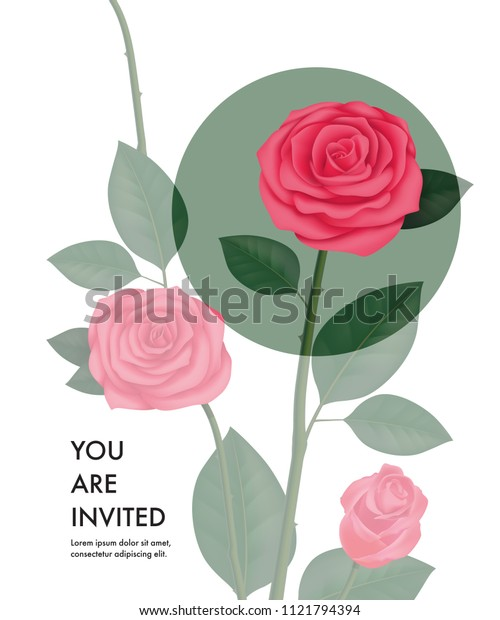 You are invited card template with transparent roses and green circle on white background. Party, event, celebration. Holiday concept. Can be used for invitation, greeting card, brochure