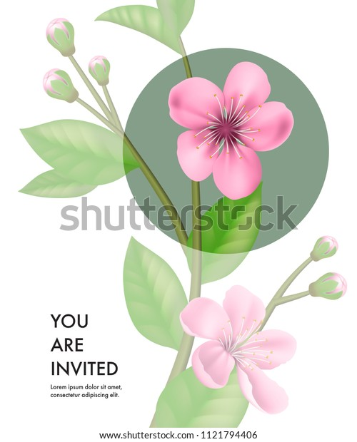 You are invited card template with transparent cherry flowers and green circle on white background. Party, event, celebration. Holiday concept. Can be used for invitation, greeting card, brochure
