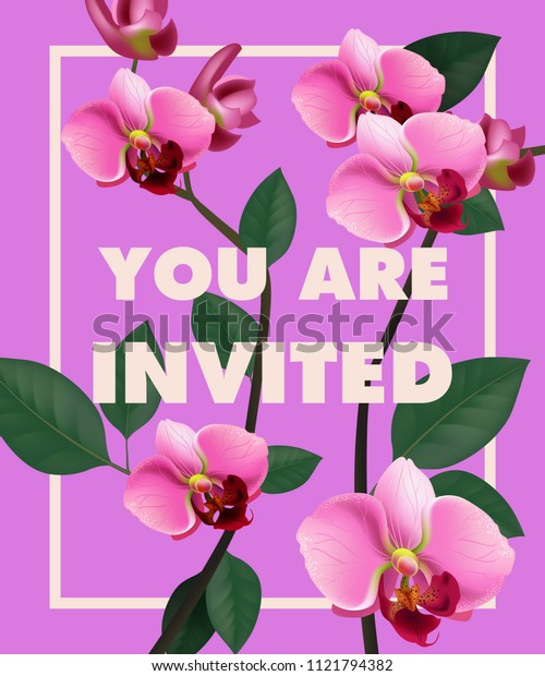 You are invited lettering with pink orchid on purple background. Handwritten text, calligraphy. Celebration concept. Can be used for invitation, flyer, brochure
