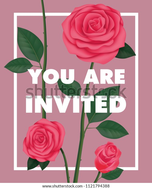 You are invited lettering with roses in frame on purple background. Handwritten text, calligraphy. Party concept. Can be used for invitation, flyer, brochure