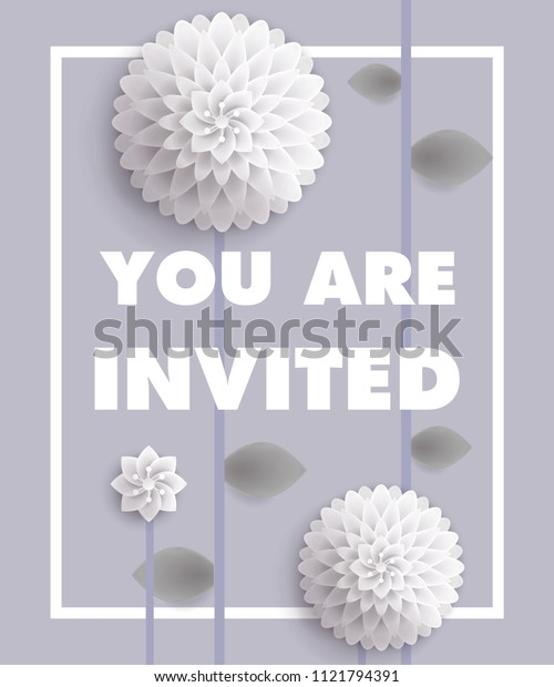 You are invited lettering with white dandelions in frame on gray background. Handwritten text, calligraphy. Party concept. Can be used for invitation, flyer, brochure