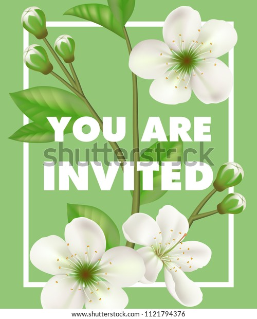 You are invited lettering with white flowers in frame on green background. Handwritten text, calligraphy. Party concept. Can be used for invitation, flyer, brochure