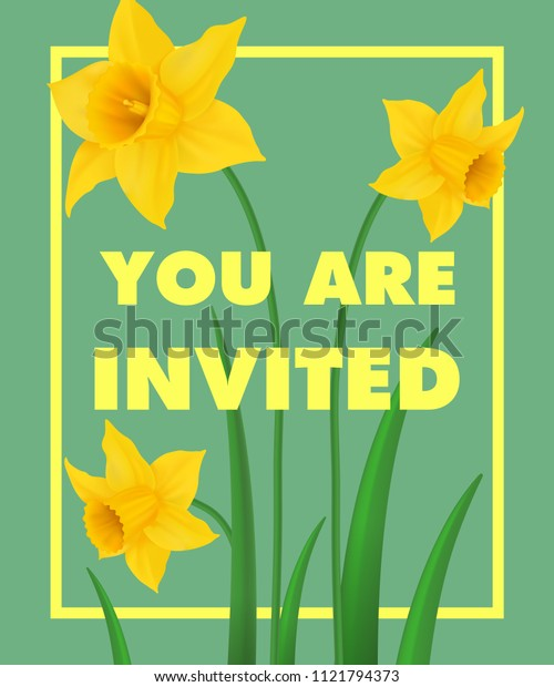 You are invited lettering with yellow narcissus on blue background. Handwritten text, calligraphy. Holiday concept. Can be used for invitation, flyer, brochure