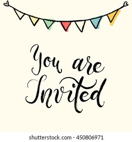 Party invitation images stock photos vectors shutterstock you are invited to the party invitation card vector isolated hand drawn hand lettering stopboris Image collections