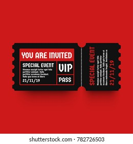 You Are Invited VIP Pass Party Entry Ticket Design