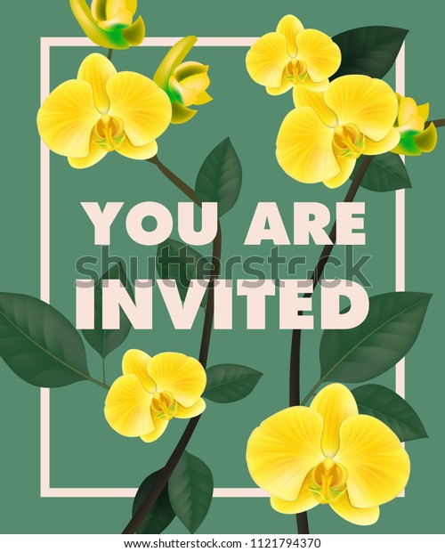 You are lettering with yellow orchids in frame on blue background. Handwritten text, calligraphy. Celebration concept. Can be used for invitation, flyer, brochure