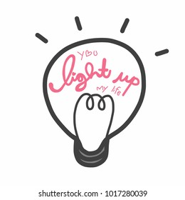 You light up my life word and lightbulb vector illustration