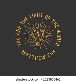You are the Light of the World Matthew Bible Verse Illustration