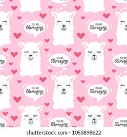 You are llamazing llama seamless pattern with hearts.  Cute  llama head drawings with lettering and different emotions. hand drawn vector pattern with alpaca for cards, t-shirts, cases, textile.