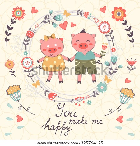 You Make Me Happy Romantic Card With Cute Pigs Couple Vector Illustration