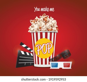 you make me pop. vector illustration with popcorn bucket, clapperboard, 3D glasses and showreel.