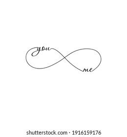 You and Me line lettering