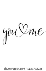 You me  - minimalistic lettering poster vector.