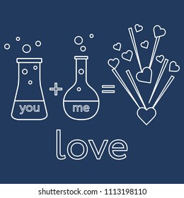 You and me and our chemistry of love. Design for banner, poster or print. Greeting card Valentine's Day.