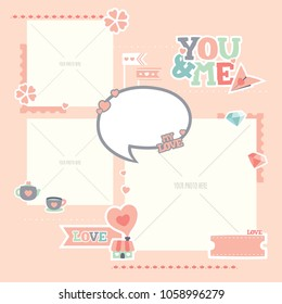 You and Me photo digital template layout with balloon text. Lovely and Romantic Scrapbook layout.
